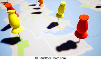 Travel destination points, close up 4k