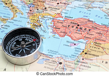 Travel destination Turkey, map with compass - Compass on a ...