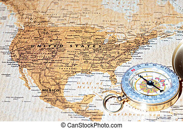 Travel destination United States, ancient map with vintage compass