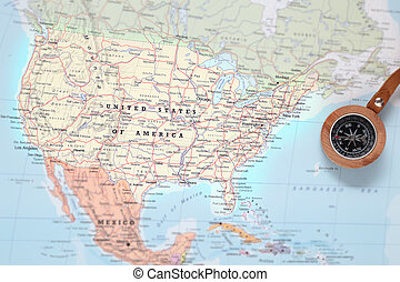 Travel destination United States, map with compass - Compass...