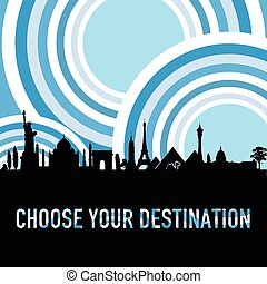 travel destination vector silhouette in colorful
