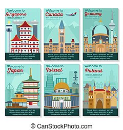 Travel destinations card. - Set of different cities for...