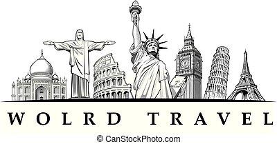 travel destinations-famous places London Big Ben, Rome-Coliseum, Paris-Eiffel Tower, Rio de Janeiro-Jesus Statue, NYC-Statue of liberty