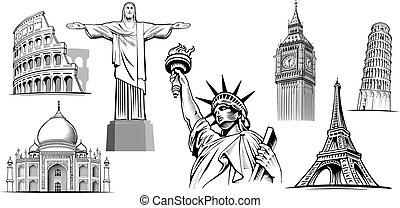 travel destinations-famous places NYC, London Big Ben, Rome-Coliseum, Paris-Eiffel Tower, Rio de Janeiro-Jesus Statue, NYC-Statue of liberty
