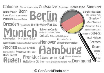 Travel destinations of Germany Concept - The magnifying...