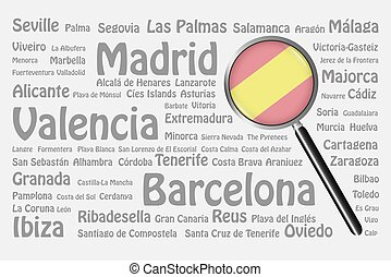 Travel destinations of Spain Concept - The magnifying glass...