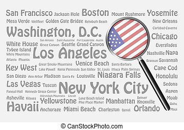 Travel destinations of USA Concept - The magnifying glass...