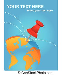 Travel destinations poster with red thumbtack