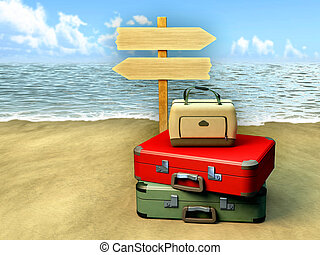 Travel destinations - Some luggages and a tourist sign on a...