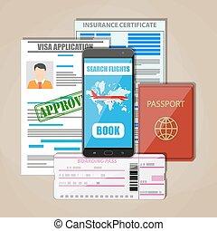Travel documents concept