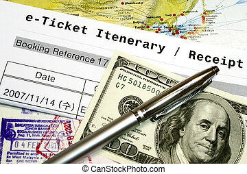 Travel Documents e-ticket itenerary passport and dollar -...