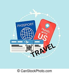 Travel Documents Icon Id Passport And Ticket On Plane