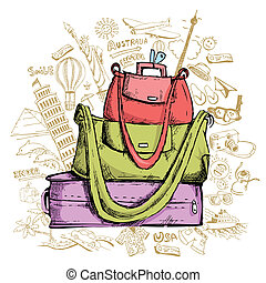 Travel Doddle with Luggage - illustration of travel element ...
