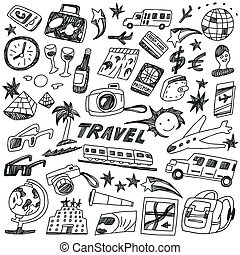travel - doodles set
