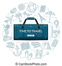 Travel duffle luggage bag with the set of tourism, journey, trip, tour, summer vacation doodle icons. Time to travel concept vector illustration