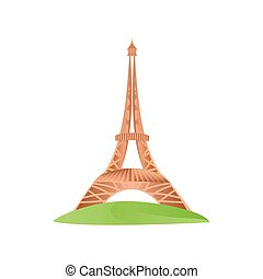 travel eiffel tower in paris on the champs elysees icon image white background