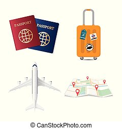 Travel elements, passport, luggage travel case, airplane and...