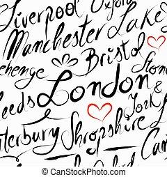 Travel England destination seamless pattern background