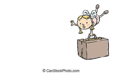 Travel Fairy - A cartoon fairy struggles to lift her...