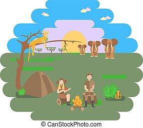 Travel family on African safari