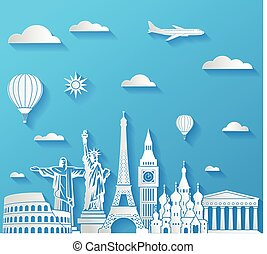 Travel famous monuments background