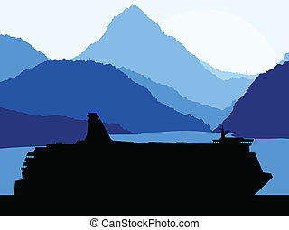 Travel ferry boat near mountains vector background concept