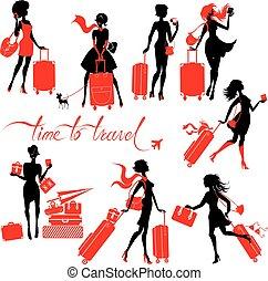 travel., filles, valise, femme, texte, mode, isolé, élégant, jeune, arrière-plan., ensemble, world., main, voyages, temps, calligraphic, blanc, silhouettes, écrit