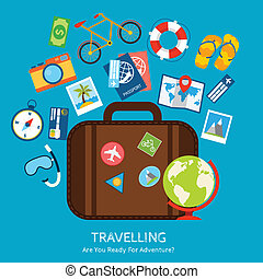 Travel flat concept - Travel holiday vacation adventure flat...