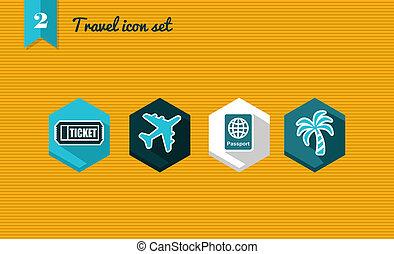 Travel flat icon set.