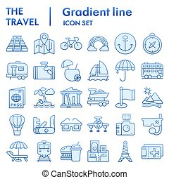 Travel flat icon set, tourism symbols collection, vector sketches, logo illustrations, holiday signs blue gradient pictograms package isolated on white background, eps 10.
