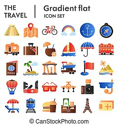 Travel flat icon set, tourism symbols collection, vector sketches, logo illustrations, holiday signs color gradient pictograms package isolated on white background, eps 10.