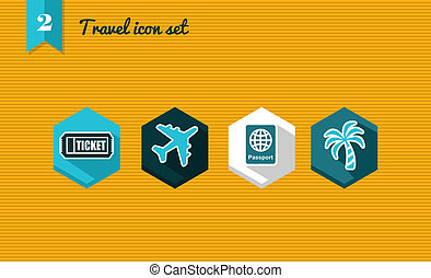 Travel flat icon set.
