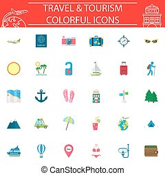 Travel flat icon set, Travel symbols collection
