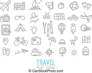 Travel icons drawing in flat modern style with grey lines.