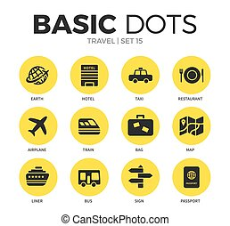 Travel flat icons vector set
