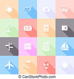Travel flat icons with long shadow