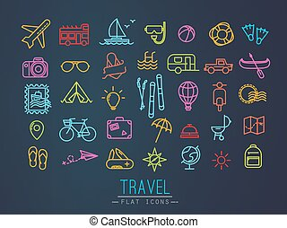 Travel icons drawing in flat modern style with neon lines.