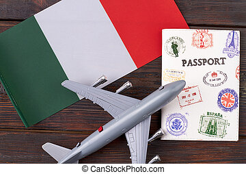 Travel flight to Italy concept.