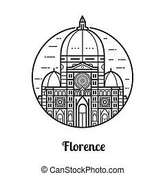 Travel Florence Icon - Travel Florence icon. Santa Maria del...