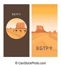 Travel flyers design with Egypt desert