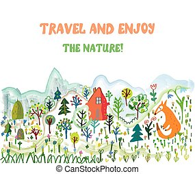 Travel funny card with landscape and animals