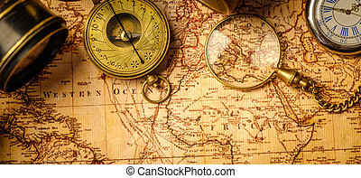 Travel geography navigation concept background. - Old...