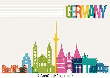 Travel Germany destination landmarks skyline background