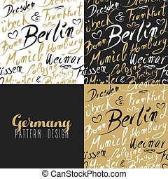 Travel germany europe berlin seamless pattern gold