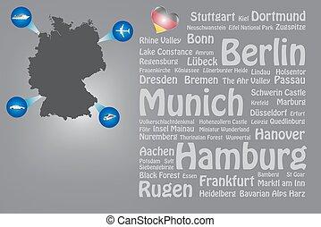 Travel Germany landmarks names template vector