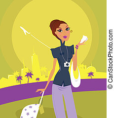 Travel girl at the airport - Stylish woman on her travels at...