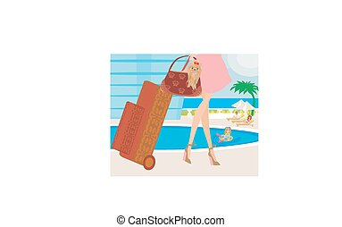 travel girl with baggage