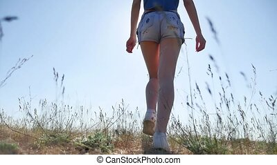 travel. Girl Young woman arms raised enjoying the fresh air in grass sunlight nature
