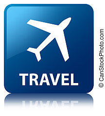 Travel glossy blue reflected square button