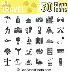 Travel glyph icon set, tourism symbols collection, vector sketches, logo illustrations, holiday signs solid pictograms package isolated on white background, eps 10.